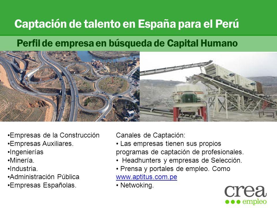 Captación de talento en España para el Perú Perfil de empresa en búsqueda de Capital Humano Empresas de la Construcción Empresas Auxiliares. Ingenierí