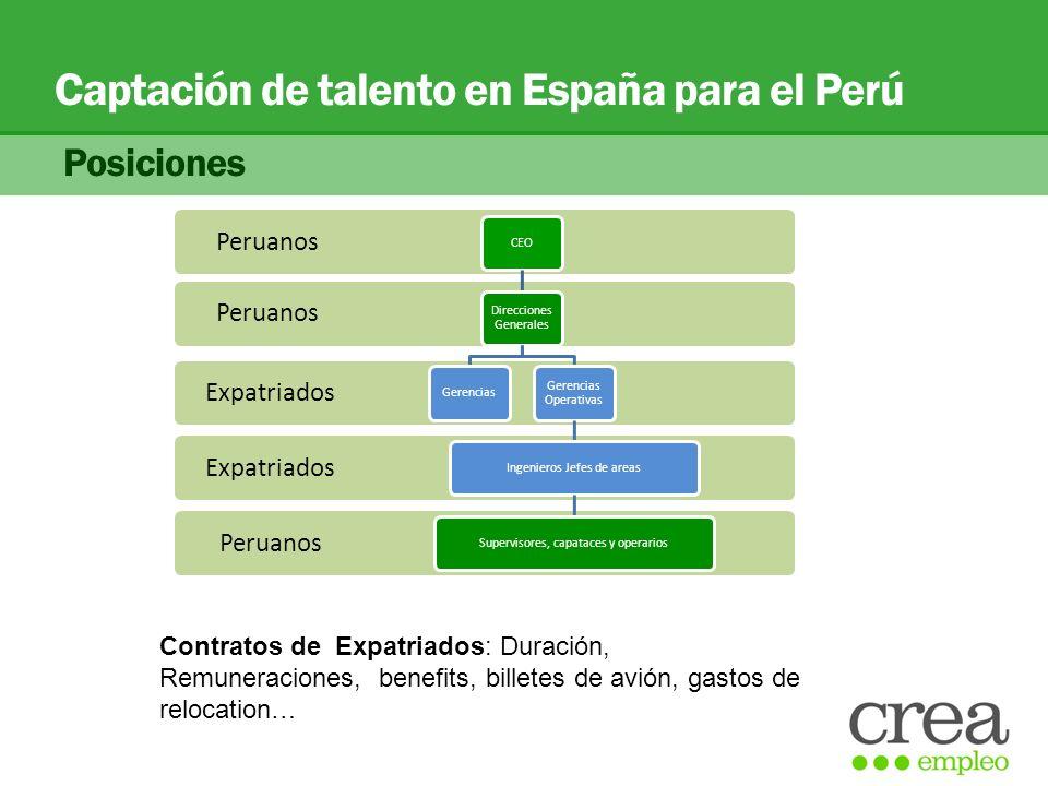 Captación de talento en España para el Perú Posiciones Peruanos Expatriados Peruanos CEO Direcciones Generales Gerencias Gerencias Operativas Ingenier