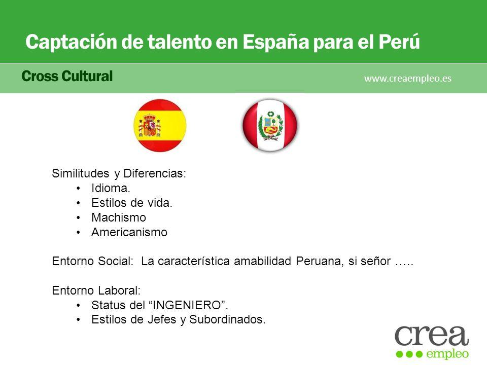 Captación de talento en España para el Perú Cross Cultural www.creaempleo.es Similitudes y Diferencias: Idioma. Estilos de vida. Machismo Americanismo