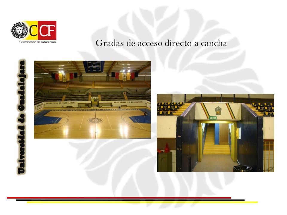 Gradas de acceso directo a cancha