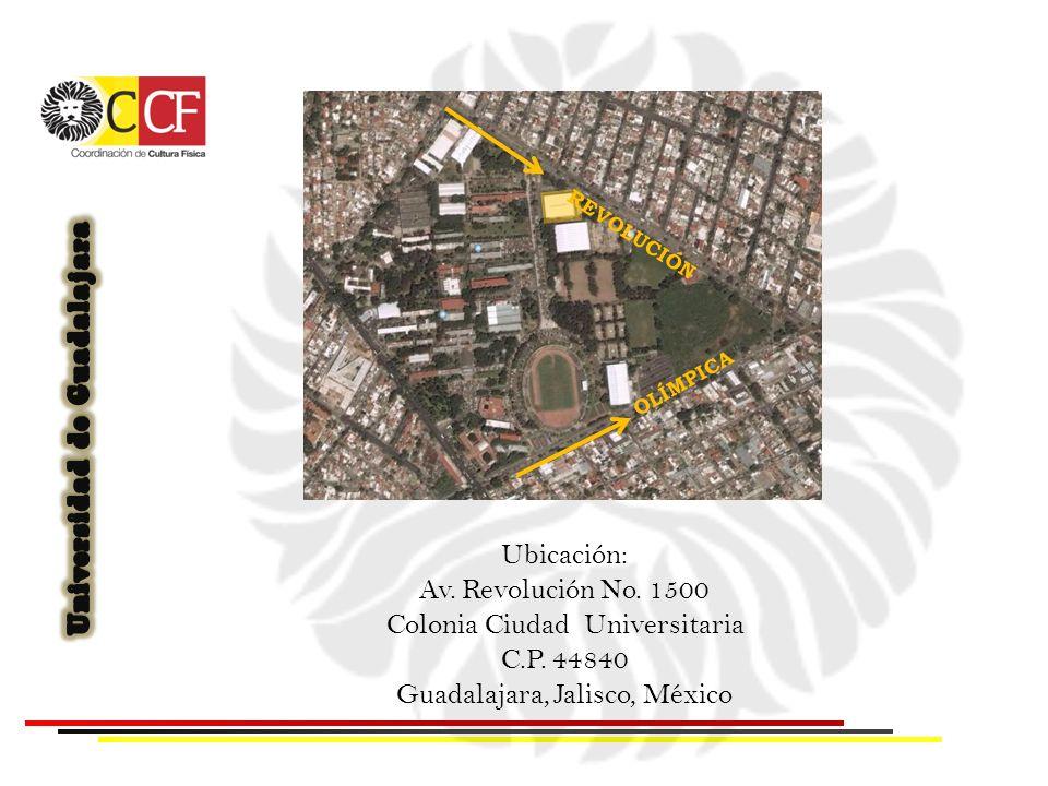 REVOLUCIÓN OLÍMPICA Ubicación: Av. Revolución No. 1500 Colonia Ciudad Universitaria C.P. 44840 Guadalajara, Jalisco, México