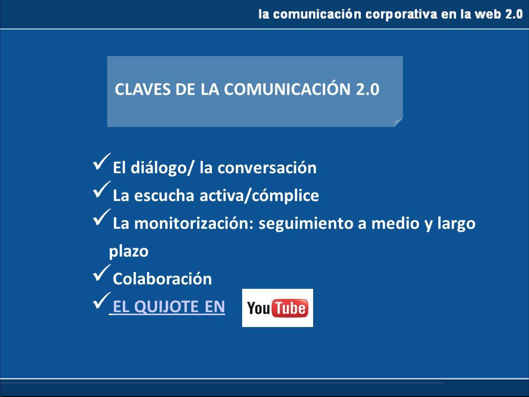 la comunicación corporativa en la web 2.0 CLAVES DE LA COMUNICACIÓN 2.0 El diálogo/ la conversación La escucha activa/cómplice La monitorización: segu