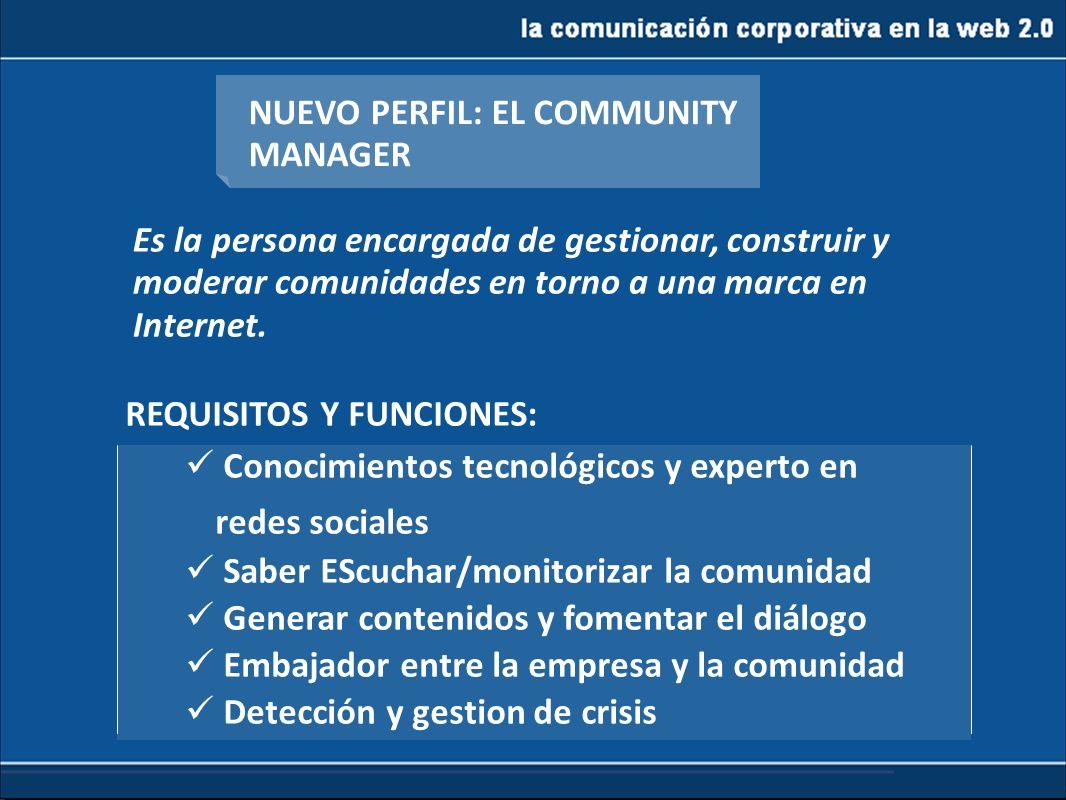 la comunicación corporativa en la web 2.0 NUEVO PERFIL: EL COMMUNITY MANAGER Es la persona encargada de gestionar, construir y moderar comunidades en