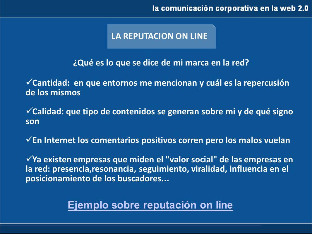 la comunicación corporativa en la web 2.0 ¿Qué es lo que se dice de mi marca en la red? Cantidad: en que entornos me mencionan y cuál es la repercusió
