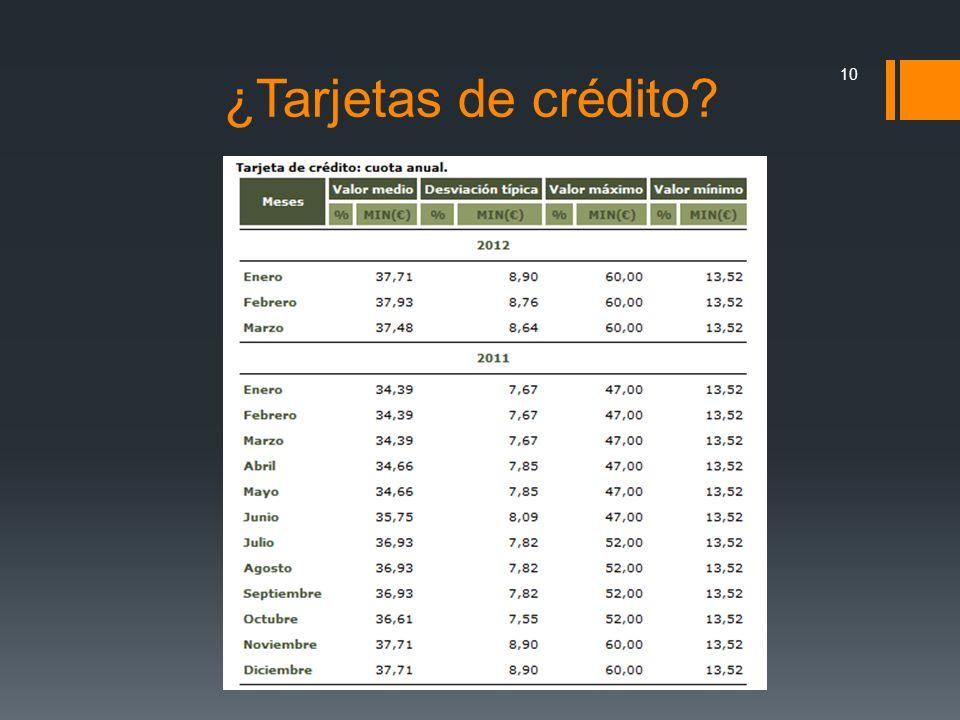 ¿Tarjetas de crédito? 10