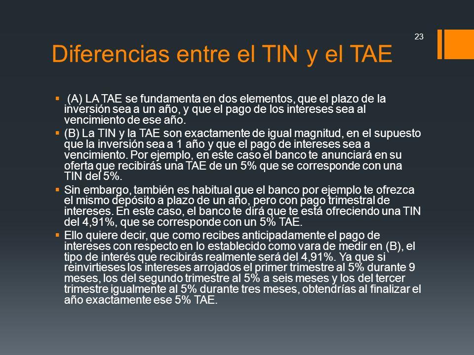 Diferencias entre el TIN y el TAE (A) LA TAE se fundamenta en dos elementos, que el plazo de la inversión sea a un año, y que el pago de los intereses