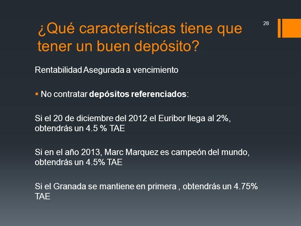 Rentabilidad Asegurada a vencimiento No contratar depósitos referenciados: Si el 20 de diciembre del 2012 el Euribor llega al 2%, obtendrás un 4.5 % T