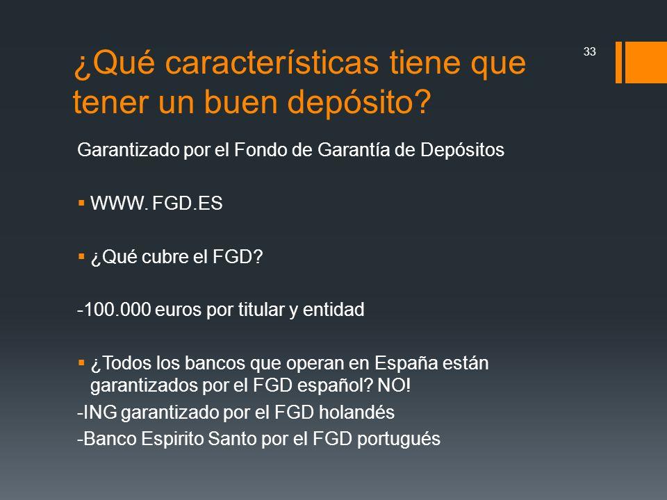 Garantizado por el Fondo de Garantía de Depósitos WWW. FGD.ES ¿Qué cubre el FGD? -100.000 euros por titular y entidad ¿Todos los bancos que operan en