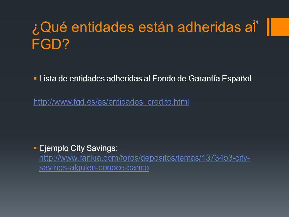 Lista de entidades adheridas al Fondo de Garantía Español http://www.fgd.es/es/entidades_credito.html Ejemplo City Savings: http://www.rankia.com/foro
