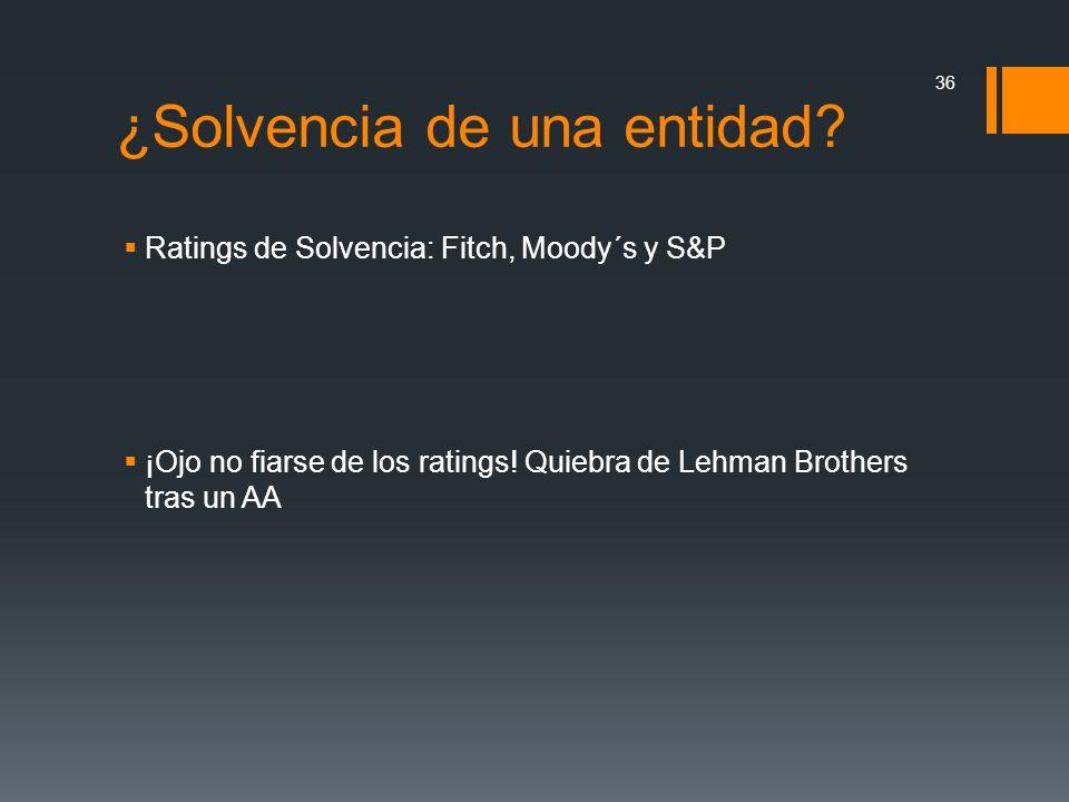 Ratings de Solvencia: Fitch, Moody´s y S&P ¡Ojo no fiarse de los ratings! Quiebra de Lehman Brothers tras un AA 36 ¿Solvencia de una entidad?