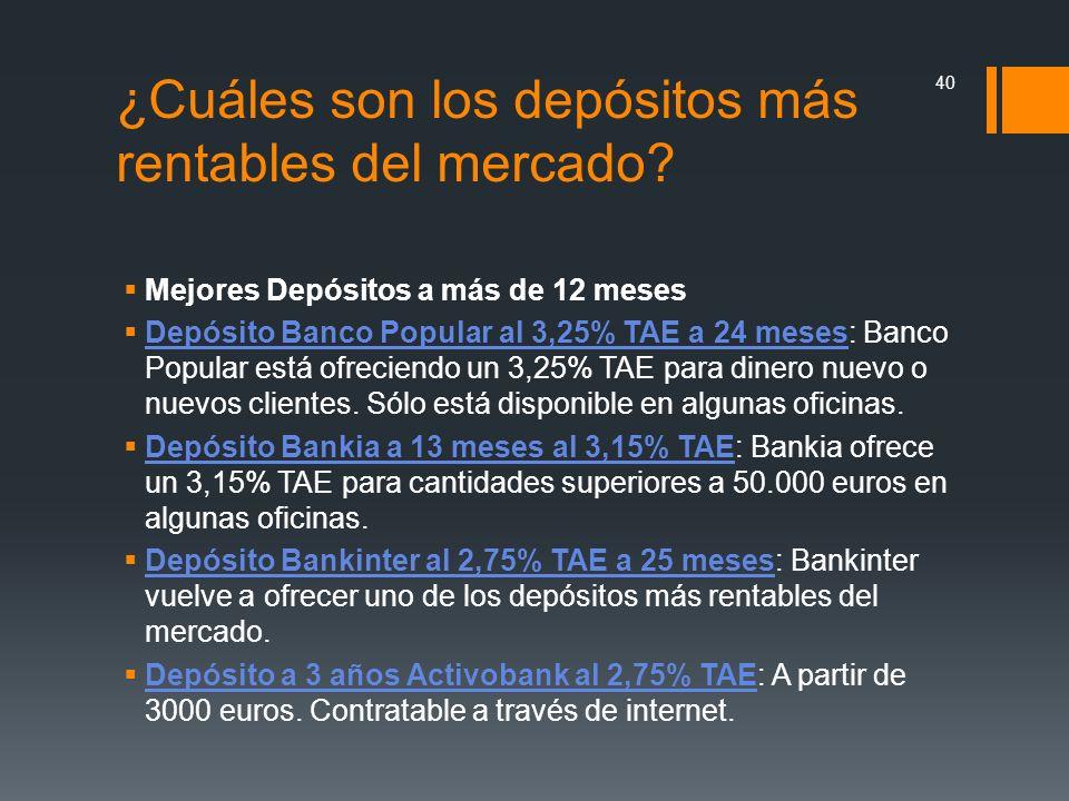 ¿Cuáles son los depósitos más rentables del mercado? Mejores Depósitos a más de 12 meses Depósito Banco Popular al 3,25% TAE a 24 meses: Banco Popular