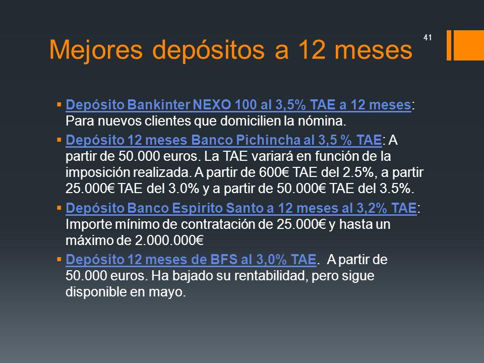 Mejores depósitos a 12 meses Depósito Bankinter NEXO 100 al 3,5% TAE a 12 meses: Para nuevos clientes que domicilien la nómina. Depósito Bankinter NEX