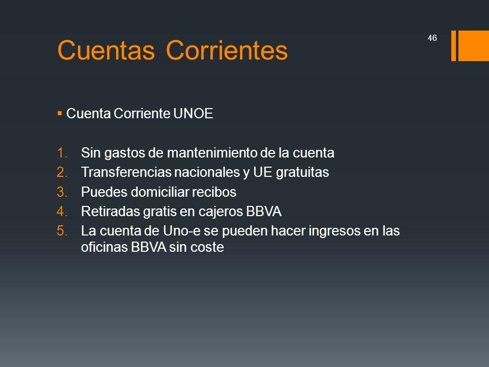 Cuentas Corrientes Cuenta Corriente UNOE 1.Sin gastos de mantenimiento de la cuenta 2.Transferencias nacionales y UE gratuitas 3.Puedes domiciliar rec