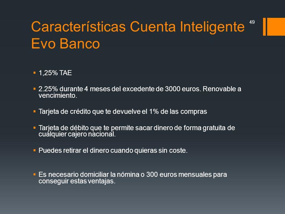 Características Cuenta Inteligente Evo Banco 1,25% TAE 2.25% durante 4 meses del excedente de 3000 euros. Renovable a vencimiento. Tarjeta de crédito