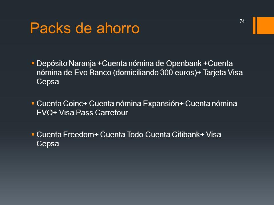 Packs de ahorro Depósito Naranja +Cuenta nómina de Openbank +Cuenta nómina de Evo Banco (domiciliando 300 euros)+ Tarjeta Visa Cepsa Cuenta Coinc+ Cue
