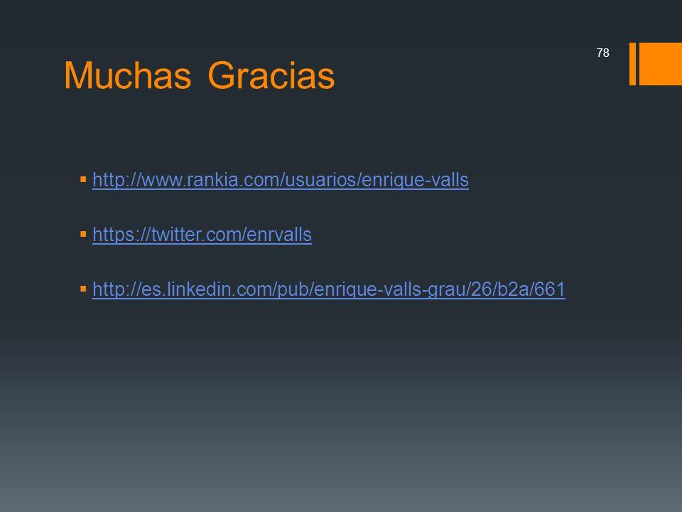 Muchas Gracias http://www.rankia.com/usuarios/enrique-valls https://twitter.com/enrvalls http://es.linkedin.com/pub/enrique-valls-grau/26/b2a/661 78