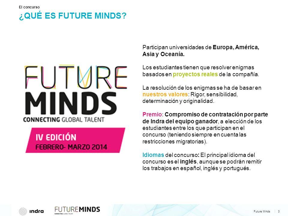 Future Minds 4 | ÉSTA SERÁ LA CUARTA EDICIÓN El concurso 120 estudiantes 12 países 37 universidades 250 impactos en prensa Más de 125.000 votos recibidos Fase presencial en Madrid.