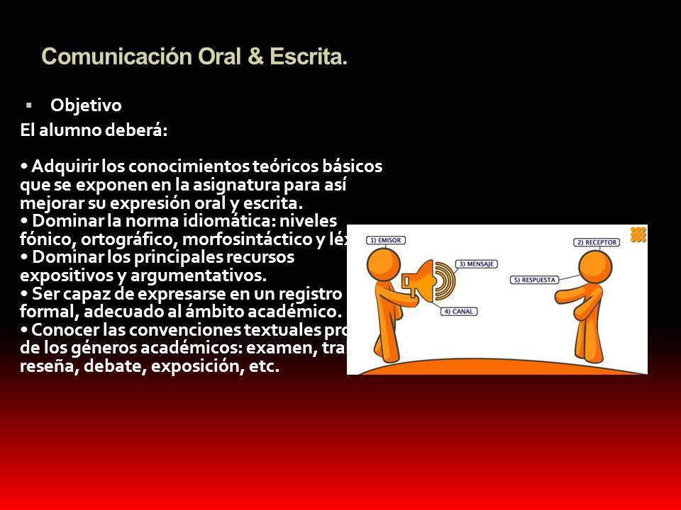 Comunicación Oral & Escrita. Objetivo El alumno deberá: Adquirir los conocimientos teóricos básicos que se exponen en la asignatura para así mejorar s