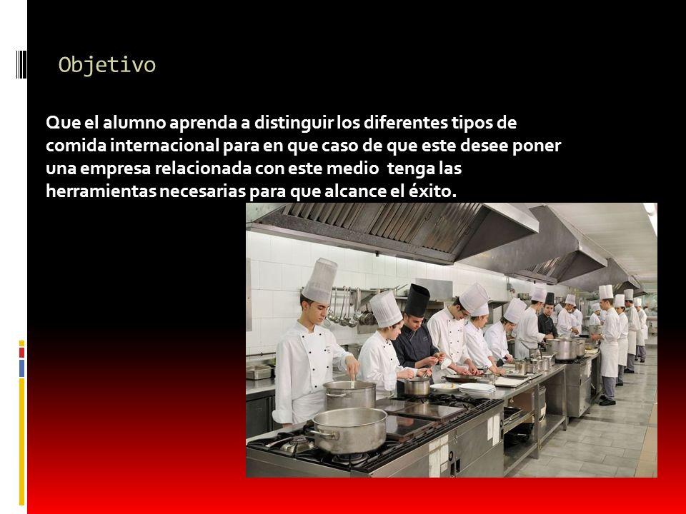 Objetivo Que el alumno aprenda a distinguir los diferentes tipos de comida internacional para en que caso de que este desee poner una empresa relacion