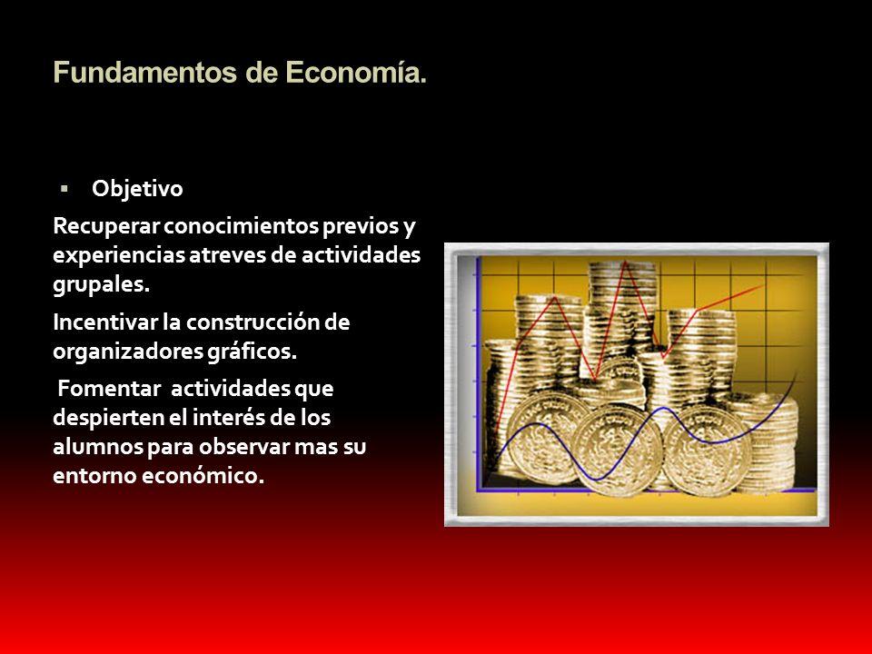 Fundamentos de Economía. Objetivo Recuperar conocimientos previos y experiencias atreves de actividades grupales. Incentivar la construcción de organi