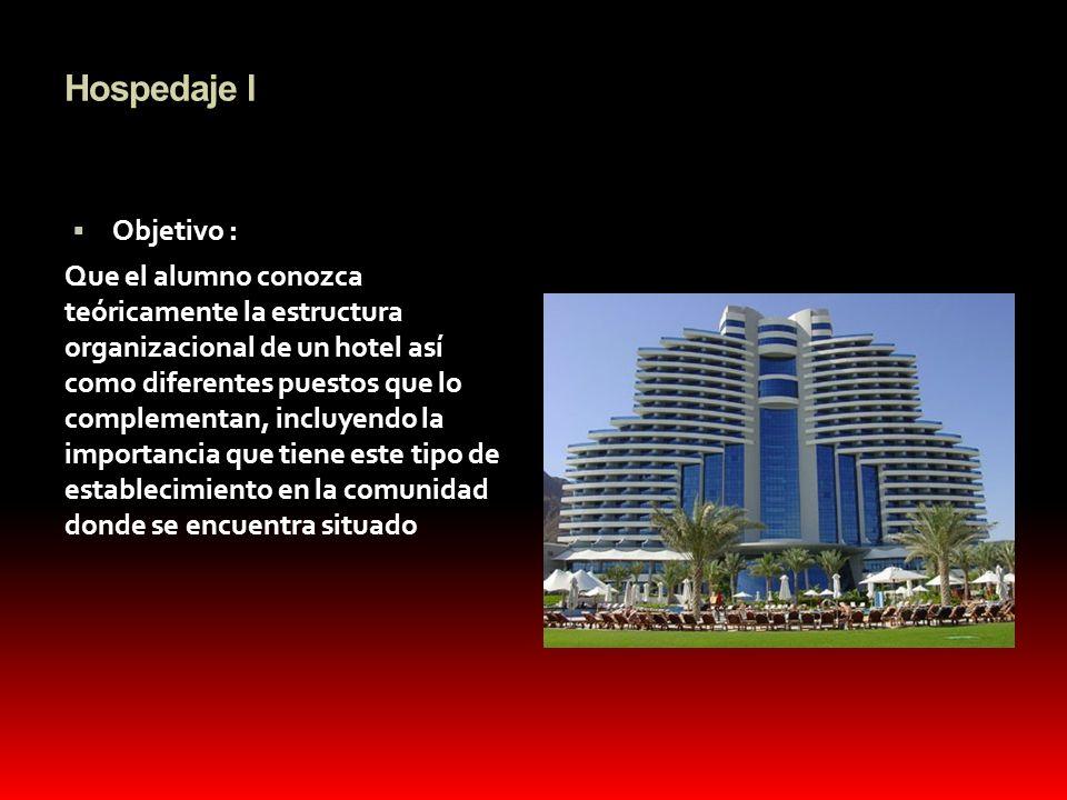 Hospedaje l Objetivo : Que el alumno conozca teóricamente la estructura organizacional de un hotel así como diferentes puestos que lo complementan, in