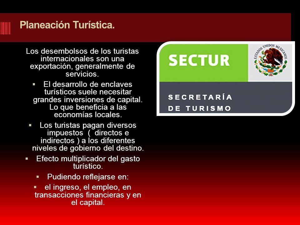 Planeación Turística. Los desembolsos de los turistas internacionales son una exportación, generalmente de servicios. El desarrollo de enclaves turíst