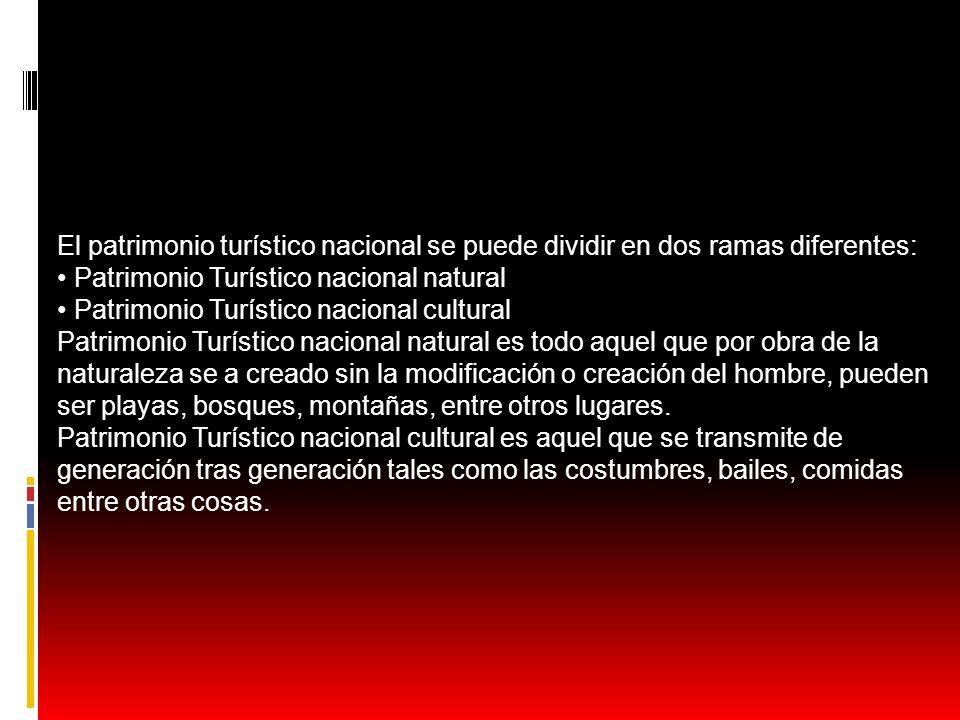 El patrimonio turístico nacional se puede dividir en dos ramas diferentes: Patrimonio Turístico nacional natural Patrimonio Turístico nacional cultura
