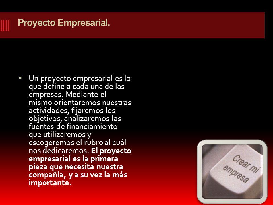 Proyecto Empresarial. Un proyecto empresarial es lo que define a cada una de las empresas. Mediante el mismo orientaremos nuestras actividades, fijare