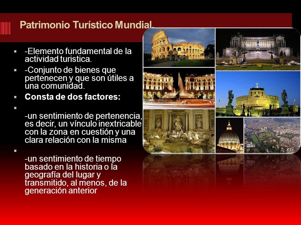 Patrimonio Turístico Mundial. -Elemento fundamental de la actividad turistica. -Conjunto de bienes que pertenecen y que son útiles a una comunidad. Co