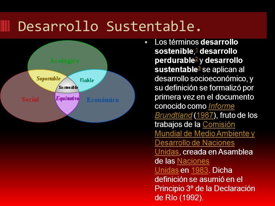Desarrollo Sustentable. Los términos desarrollo sostenible, 1 desarrollo perdurable 2 y desarrollo sustentable 3 se aplican al desarrollo socioeconómi