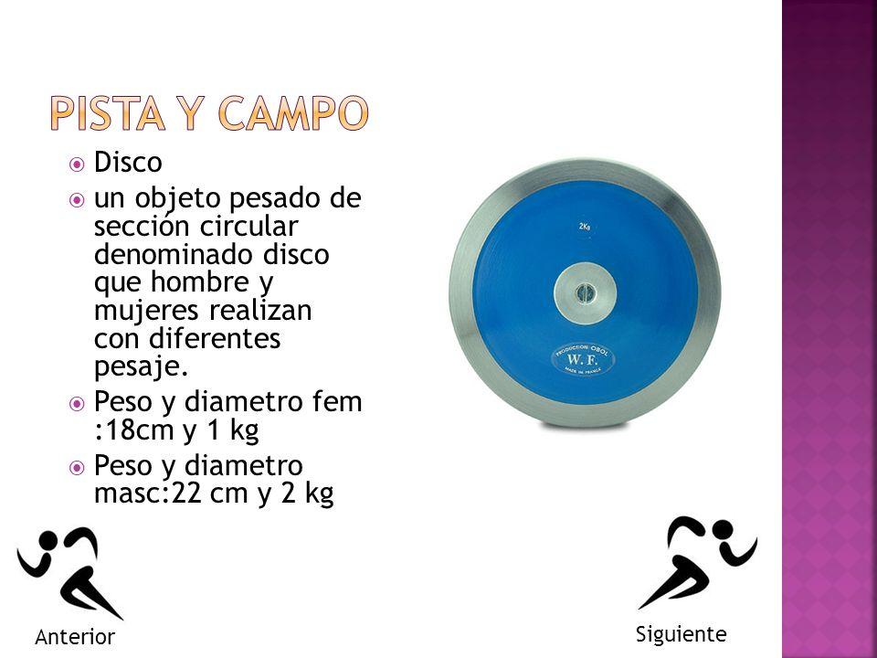 Disco un objeto pesado de sección circular denominado disco que hombre y mujeres realizan con diferentes pesaje.