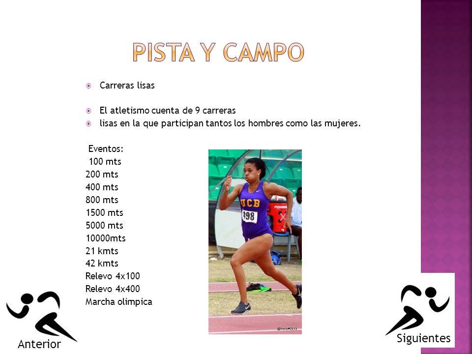 Carreras lisas El atletismo cuenta de 9 carreras lisas en la que participan tantos los hombres como las mujeres. Eventos: 100 mts 200 mts 400 mts 800