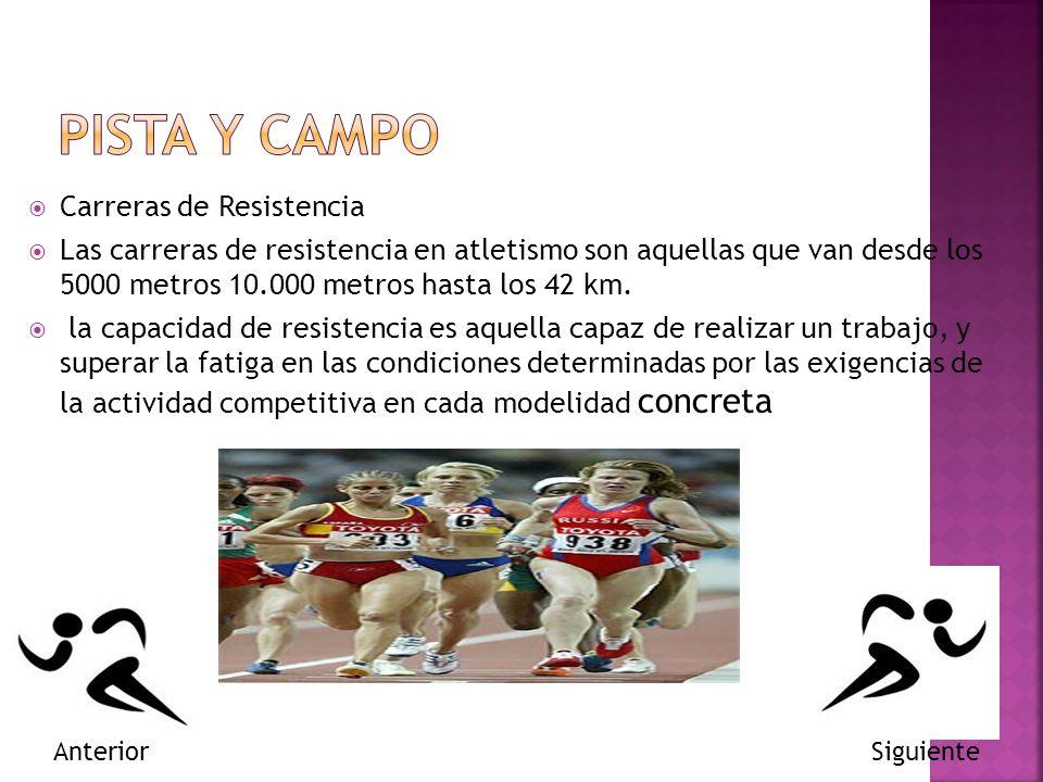 Carreras de Resistencia Las carreras de resistencia en atletismo son aquellas que van desde los 5000 metros 10.000 metros hasta los 42 km.