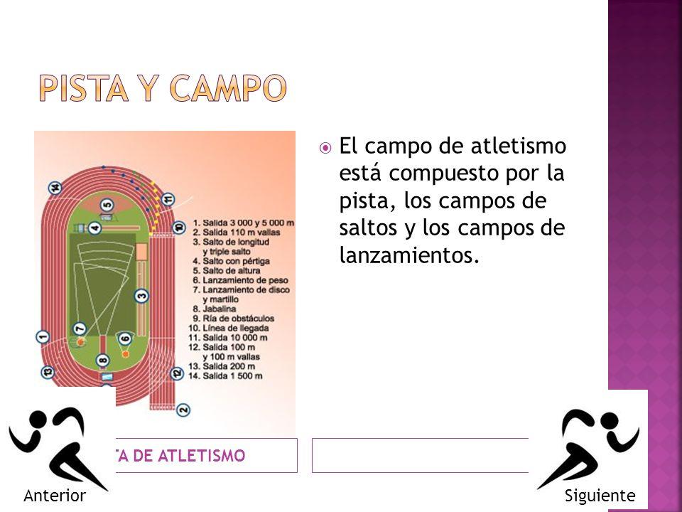 PISTA DE ATLETISMO El campo de atletismo está compuesto por la pista, los campos de saltos y los campos de lanzamientos. SiguienteAnterior