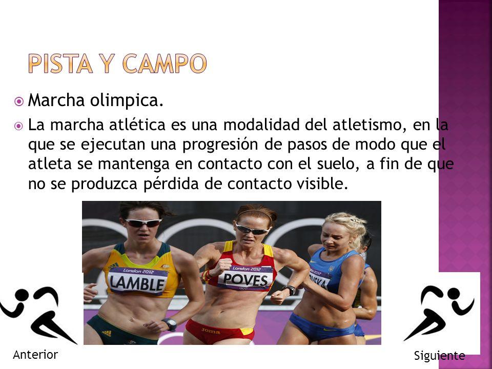 Marcha olimpica. La marcha atlética es una modalidad del atletismo, en la que se ejecutan una progresión de pasos de modo que el atleta se mantenga en