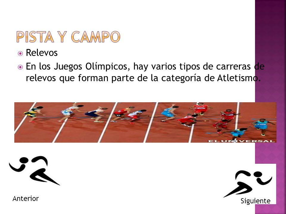 Relevos En los Juegos Olímpicos, hay varios tipos de carreras de relevos que forman parte de la categoría de Atletismo.