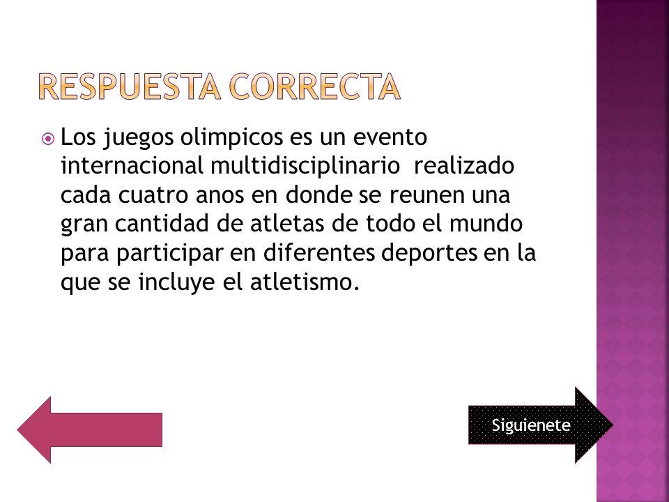 Los juegos olimpicos es un evento internacional multidisciplinario realizado cada cuatro anos en donde se reunen una gran cantidad de atletas de todo el mundo para participar en diferentes deportes en la que se incluye el atletismo.