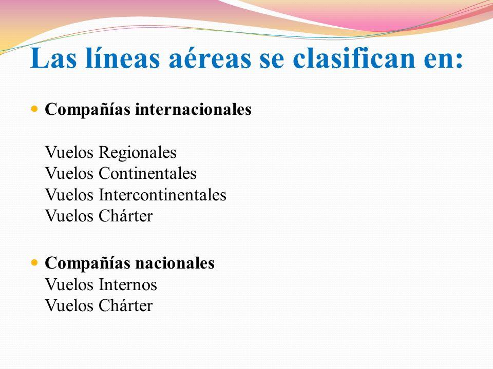 En general, las aerolíneas se pueden clasificar según el tamaño de la red de rutas que operan y sus frecuencias: Aerolíneas regionales Aerolíneas de red Aerolíneas de gran escala Clasificación