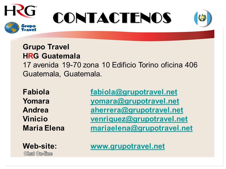 CONTACTENOS Grupo Travel HRG Guatemala 17 avenida 19-70 zona 10 Edificio Torino oficina 406 Guatemala, Guatemala.