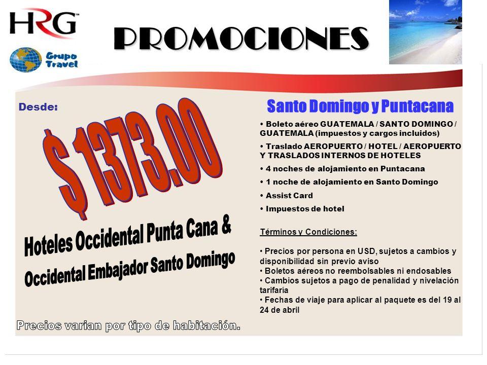 PROMOCIONES Santo Domingo y Puntacana Boleto aéreo GUATEMALA / SANTO DOMINGO / GUATEMALA (impuestos y cargos incluidos) Traslado AEROPUERTO / HOTEL / AEROPUERTO Y TRASLADOS INTERNOS DE HOTELES 4 noches de alojamiento en Puntacana 1 noche de alojamiento en Santo Domingo Assist Card Impuestos de hotel Términos y Condiciones: Precios por persona en USD, sujetos a cambios y disponibilidad sin previo aviso Boletos aéreos no reembolsables ni endosables Cambios sujetos a pago de penalidad y nivelación tarifaría Fechas de viaje para aplicar al paquete es del 19 al 24 de abril Desde: