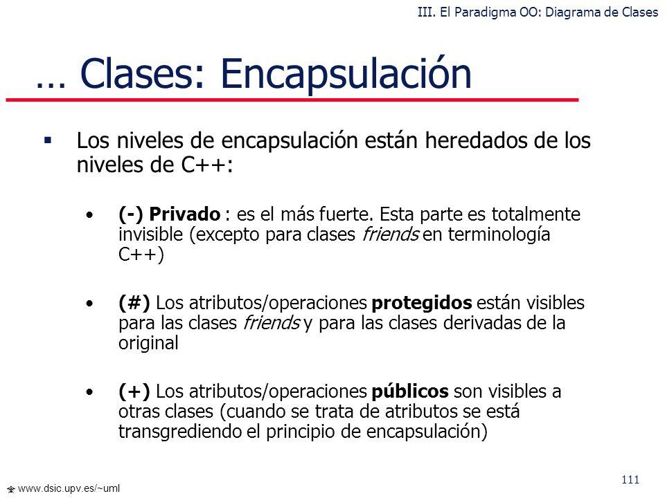 111 www.dsic.upv.es/~uml … Clases: Encapsulación Los niveles de encapsulación están heredados de los niveles de C++: (-) Privado : es el más fuerte. E