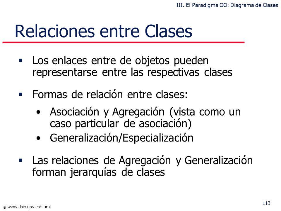 113 www.dsic.upv.es/~uml Relaciones entre Clases Los enlaces entre de objetos pueden representarse entre las respectivas clases Formas de relación ent