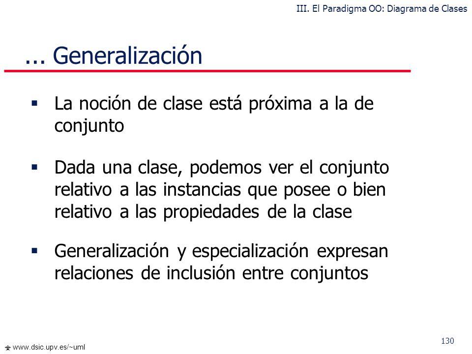 130 www.dsic.upv.es/~uml La noción de clase está próxima a la de conjunto Dada una clase, podemos ver el conjunto relativo a las instancias que posee