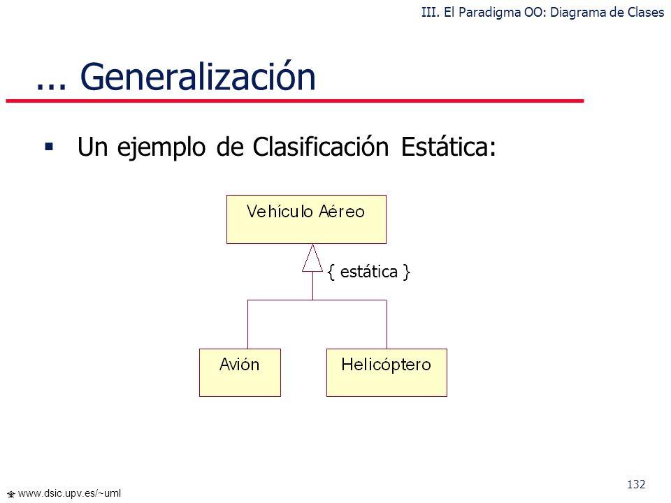 132 www.dsic.upv.es/~uml Un ejemplo de Clasificación Estática:... Generalización III. El Paradigma OO: Diagrama de Clases { estática }