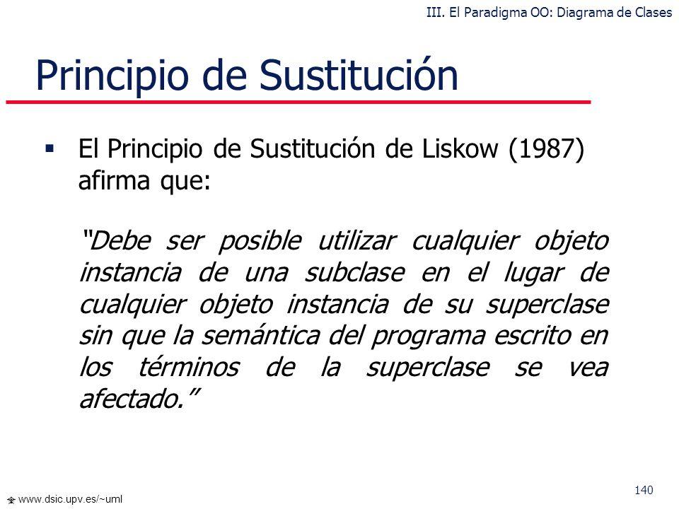140 www.dsic.upv.es/~uml Principio de Sustitución El Principio de Sustitución de Liskow (1987) afirma que: Debe ser posible utilizar cualquier objeto