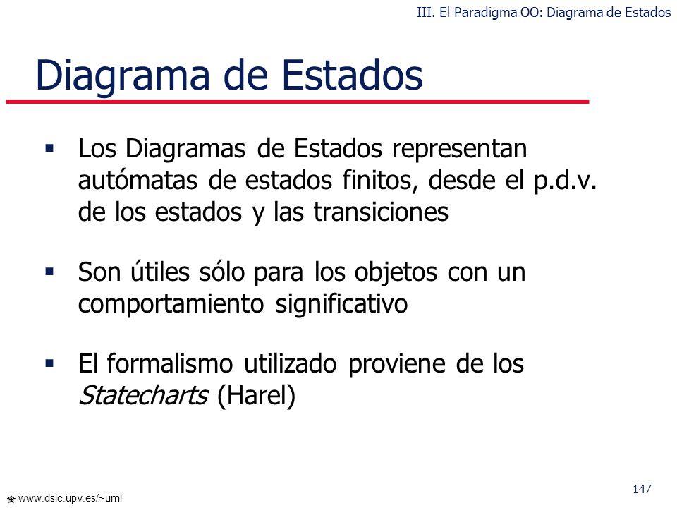 147 www.dsic.upv.es/~uml Diagrama de Estados Los Diagramas de Estados representan autómatas de estados finitos, desde el p.d.v. de los estados y las t