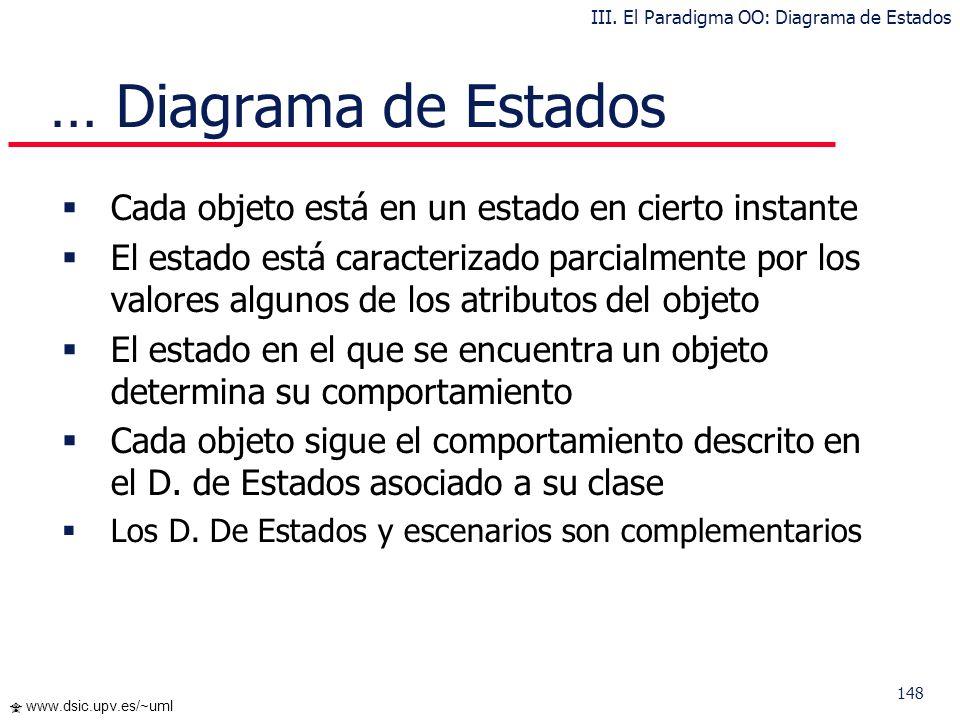 148 www.dsic.upv.es/~uml Cada objeto está en un estado en cierto instante El estado está caracterizado parcialmente por los valores algunos de los atr