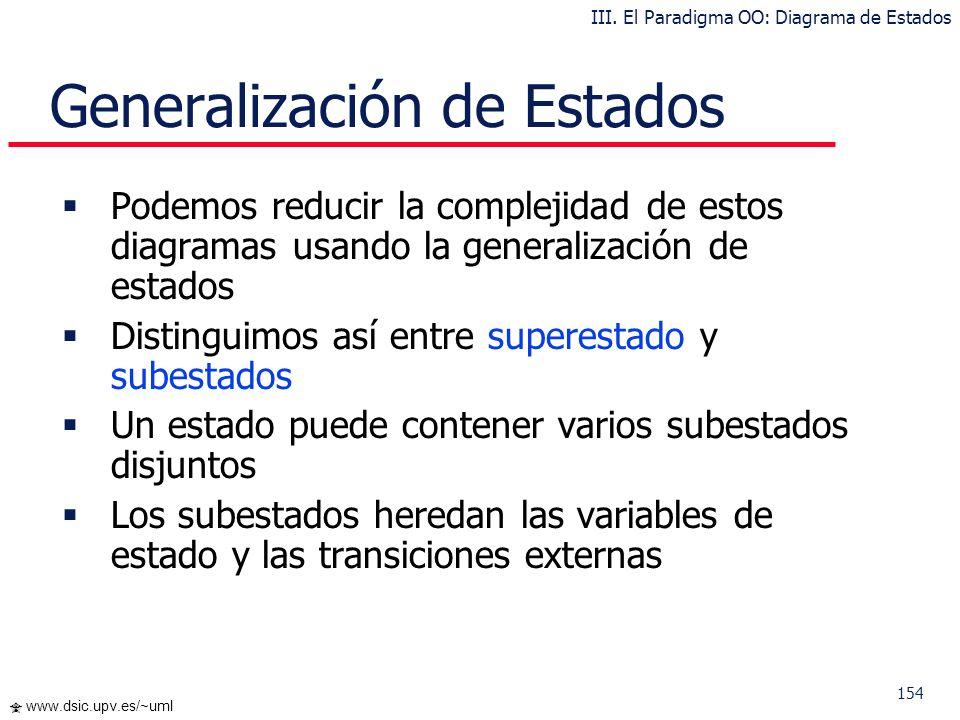 154 www.dsic.upv.es/~uml Generalización de Estados Podemos reducir la complejidad de estos diagramas usando la generalización de estados Distinguimos
