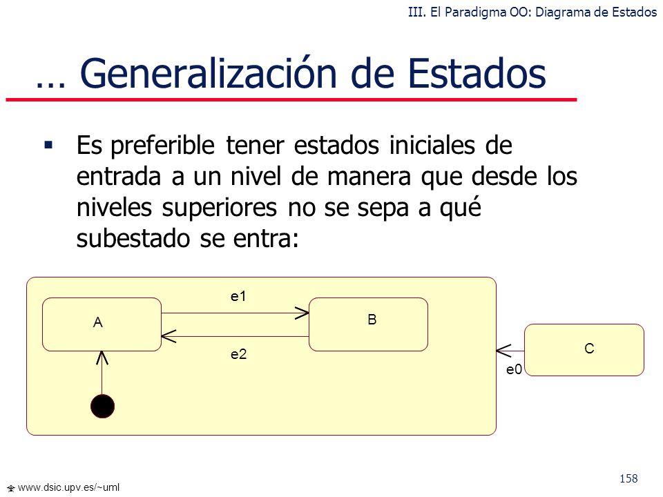 158 www.dsic.upv.es/~uml Es preferible tener estados iniciales de entrada a un nivel de manera que desde los niveles superiores no se sepa a qué subes