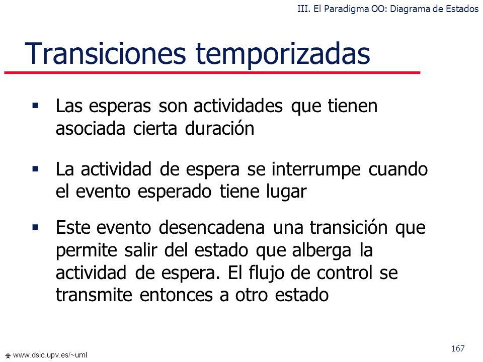 167 www.dsic.upv.es/~uml Transiciones temporizadas Las esperas son actividades que tienen asociada cierta duración La actividad de espera se interrump